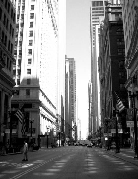 Photograph - Chicago Street With Flags B-w by Anita Burgermeister