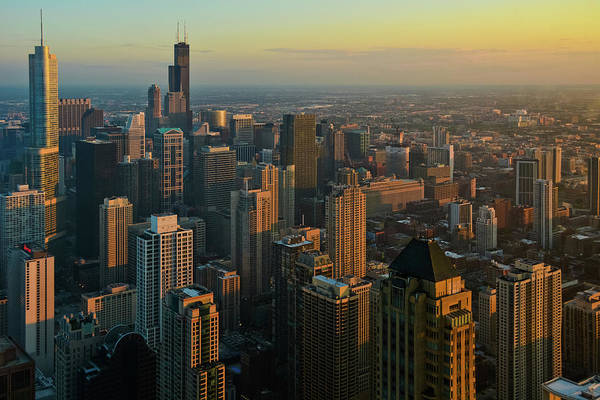 Photograph - Chicago Sunset Cityscape by Kyle Hanson