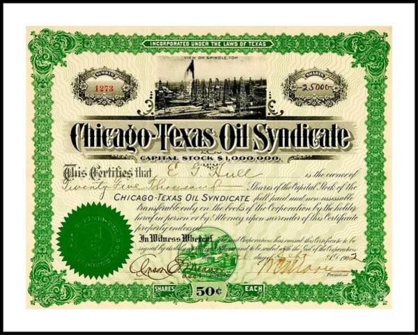 Oil Derrick Drawing - Chicago Texas Oil Syndicate 1902 Stock Certificate  by Peter Ogden Gallery