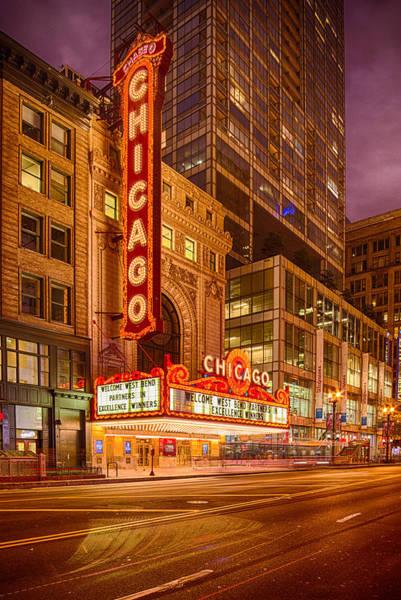 Photograph - Chicago Theatre At Dusk - 175 North State Street - Chicago Illinois by Silvio Ligutti