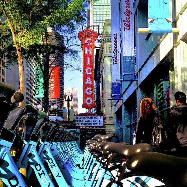 Photograph - Chicago Theatre City Bikes by Patrick Malon