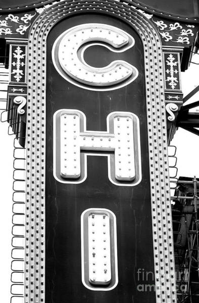 Chicago Theatre Marquee Mono Art Print