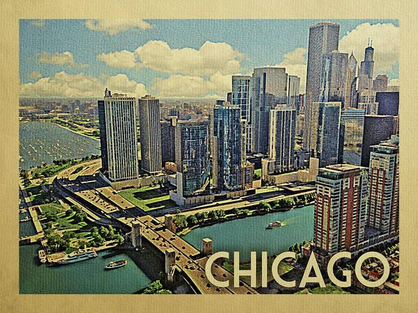 Chicago River Digital Art - Chicago Travel Poster by Flo Karp