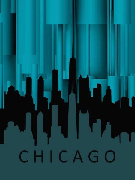 Digital Art - Chicago Turqoise Vertical by Alberto RuiZ