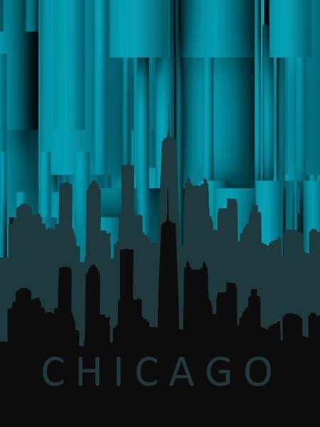 Digital Art - Chicago Turqoise Vertical In Negetive by Alberto RuiZ