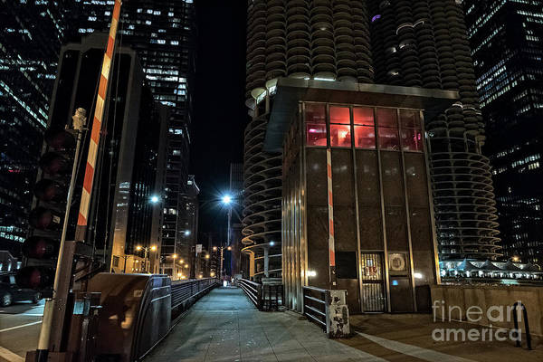 High-rise Wall Art - Photograph - Chicago Urban Vintage River Drawbridge With Tender House At Night by Bruno Passigatti