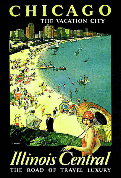 Vintage Chicago Painting - Chicago, Vacation City, Areal View On The Beach by Long Shot