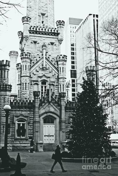 Photograph - Chicago Water Tower Christmas Tree - Monochrome by Frank J Casella
