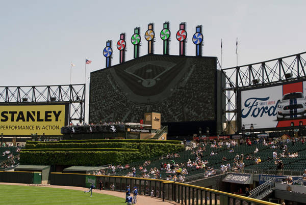 Cell Phone Cases Mixed Media - Chicago White Sox Bw Scoreboard by Thomas Woolworth