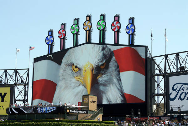Cell Phone Cases Mixed Media - Chicago White Sox Usa Eagle Scoreboard by Thomas Woolworth