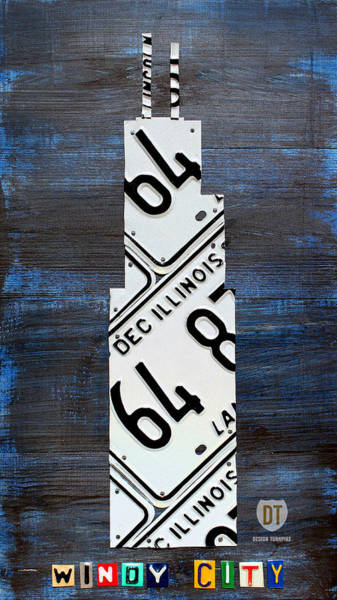 Recycling Mixed Media - Chicago Windy City Harris Sears Tower License Plate Art by Design Turnpike
