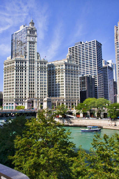 Chicago River Digital Art - Chicago With Boat by Paul Bartoszek