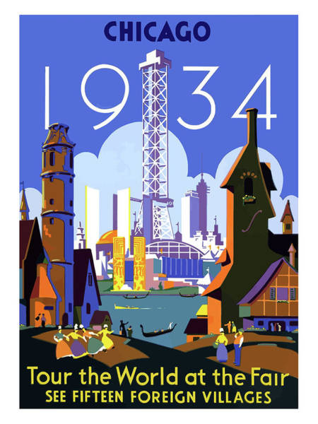 Fair Painting - Chicago, World Fair, Vintage Travel Poster by Long Shot