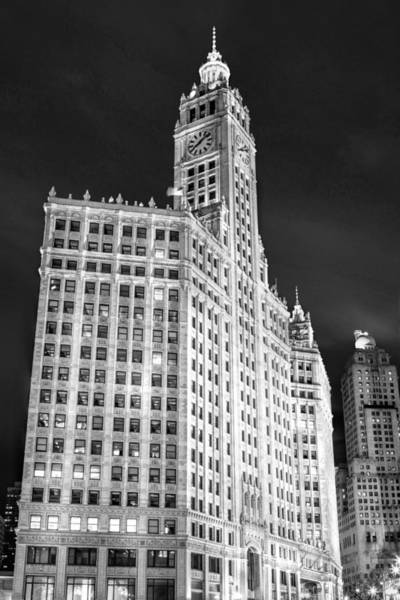 Photograph - Chicago Wrigley Building Black And White by Christopher Arndt