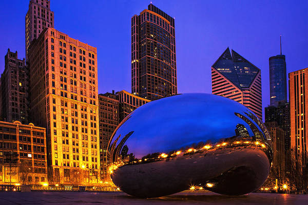 Chicago Skyline Art Photograph - Chicago's Bean At Twilight by Andrew Soundarajan
