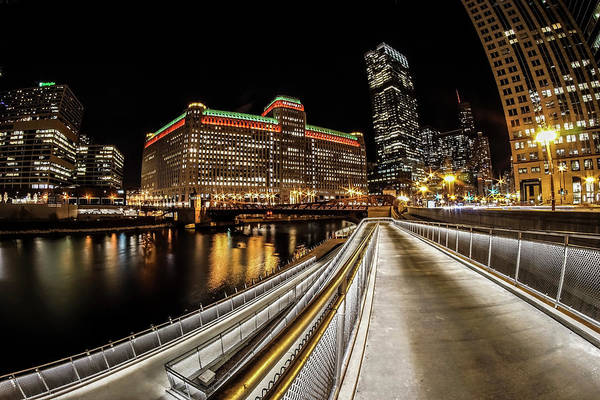 Photograph - Chicago's Riverwalk Night Scene 2 by Sven Brogren