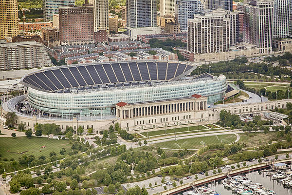 Chicago Skyline Art Photograph - Chicago's Soldier Field Aerial by Adam Romanowicz