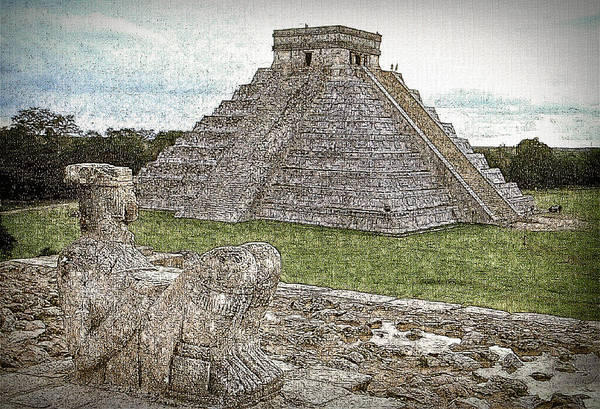 Kukulcan Photograph - Chichen Itza Draw-like by Agustin Uzarraga