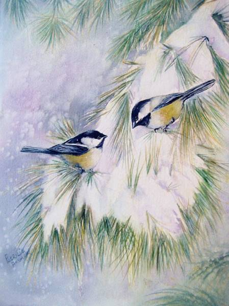 Pine Needles Painting - Chickadee Chat by Patricia Pushaw