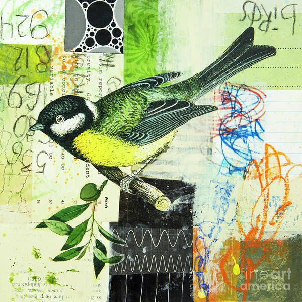 Mixed Media - Chickadee by Elena Nosyreva