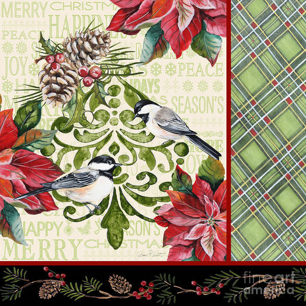 Christmas Flowers Painting - Chickadee Holiday-jp3311 by Jean Plout