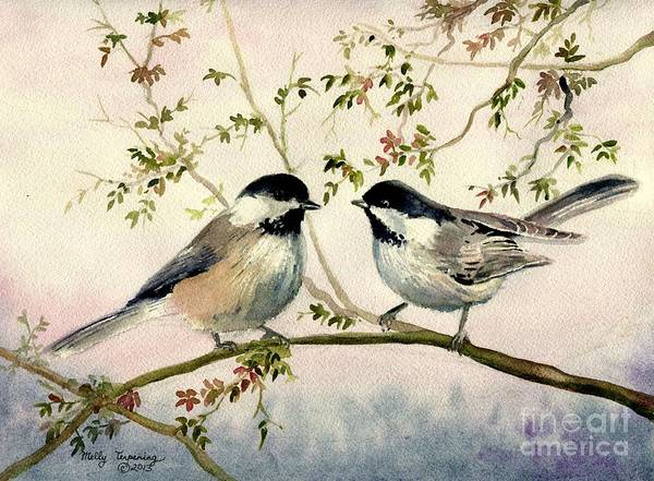 North American Birds Painting - Chickadee Love by Melly Terpening