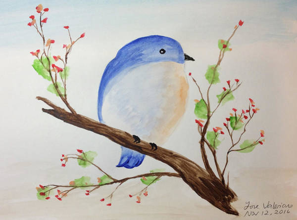 Painting - Chickadee On A Branch With Leaves by M Valeriano