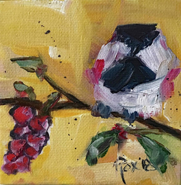 Animal Painting - Chickadee On A Vine by Roxy Rich