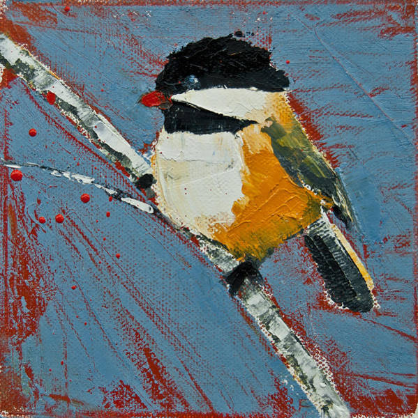 Painting - Chickadee On Birch by Jani Freimann