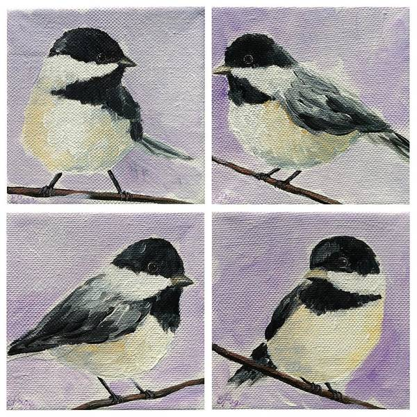 Painting - Chickadee Quartet by Emily Page