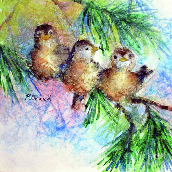 Wall Art - Painting - Chickadee Trio by Kathy Braud