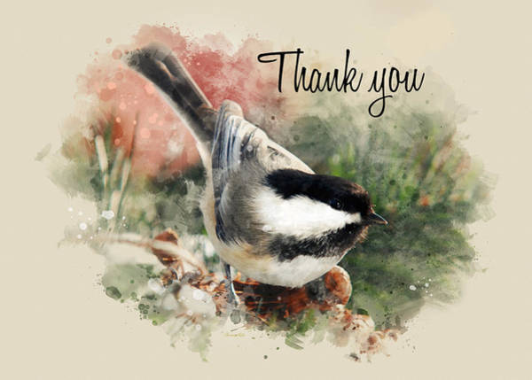 Mixed Media - Chickadee Watercolor Thank You Card by Christina Rollo