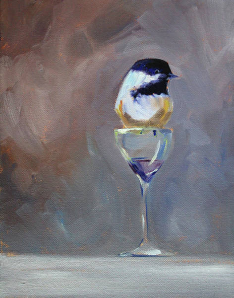 Wall Art - Painting - Chickadee Wine by Nancy Merkle