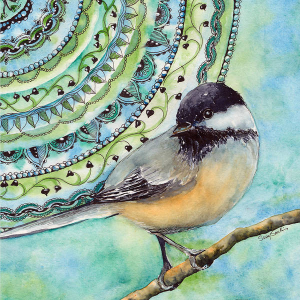 Wall Art - Painting - Chickadee Zen Birds Series Number 3 by Susy Soulies
