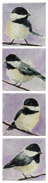Painting - Chickadees Column by Emily Page