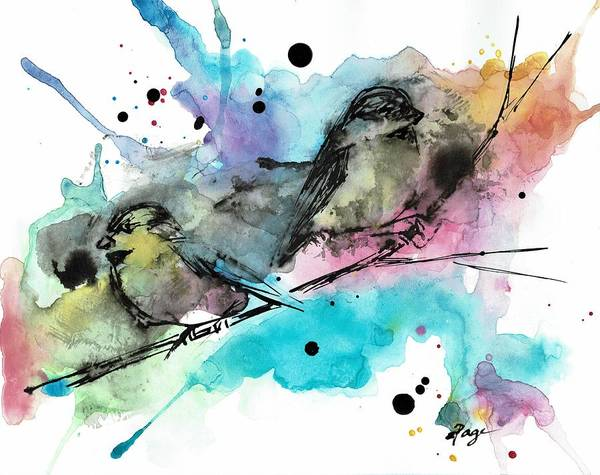 Painting - Chickadee Punk by Emily Page