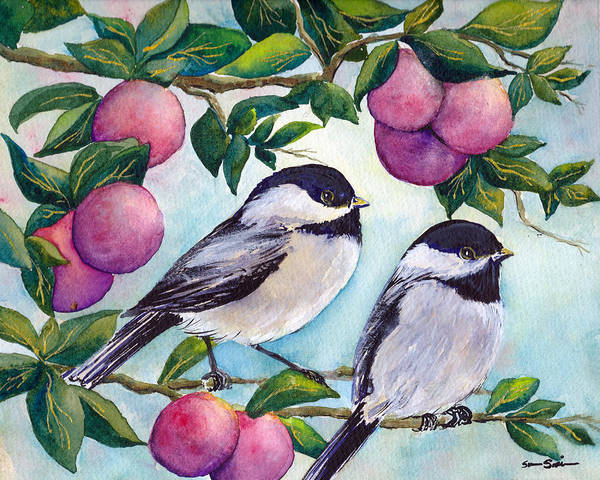 Wall Art - Painting - Chickadees In The Morning by Susy Soulies