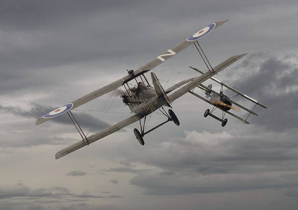 Warplane Photograph - Chicken  - 1 Se5 And Fokker Dr1 by Pat Speirs