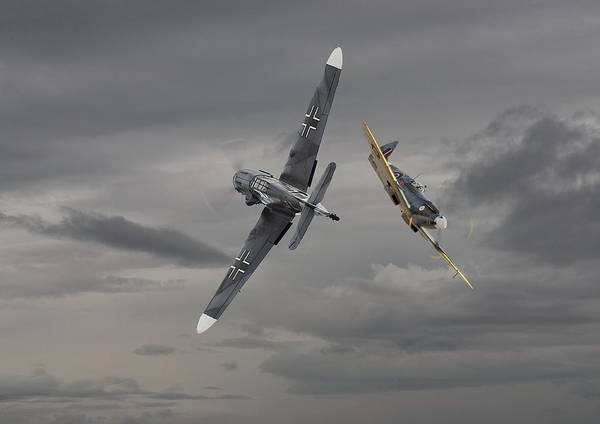 Wall Art - Photograph - Chicken 2   Me 109 And Spitfire by Pat Speirs