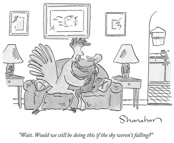 Sky Drawing - Chicken And Duck Embracing Each Other On A Couch by Danny Shanahan