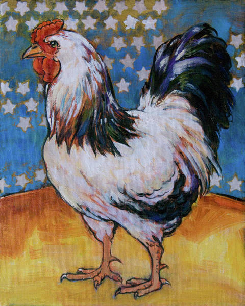 Barnyard Animal Painting - Chicken And Stars by Tracie Thompson