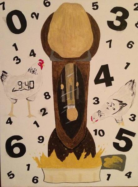 Grandfather Clock Painting - Chicken Clock by Samantha L