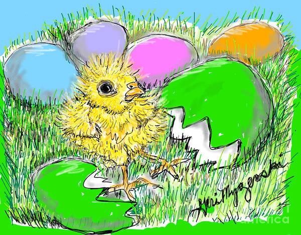 Easter Sunday Digital Art - Chicken Eggs Hatching  by Geraldine Myszenski