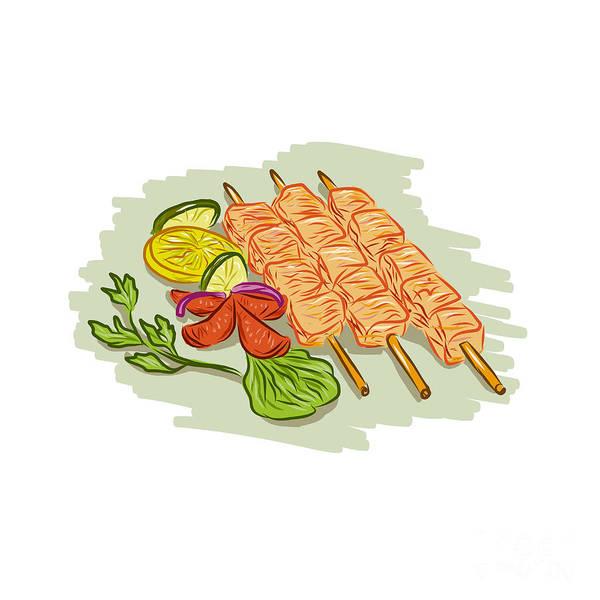 Bbq Digital Art - Chicken Kebabs Vegetables Drawing by Aloysius Patrimonio