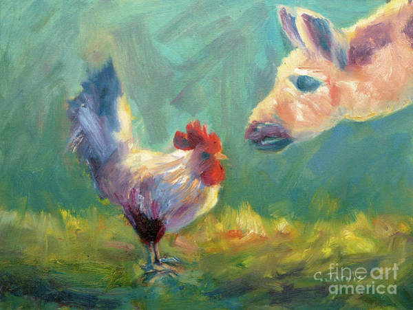 Painting - Chicken Meets Llama by Carolyn Jarvis