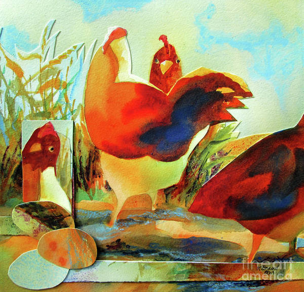 Wall Art - Painting - Chicken Puzzler- Where Are My Eggs by Kathy Braud
