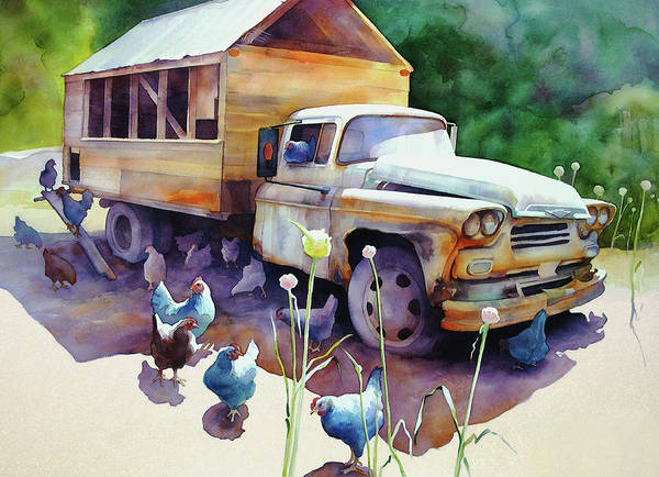 Old Chevy Truck Painting - Chicken Truck by Dianne Bersea