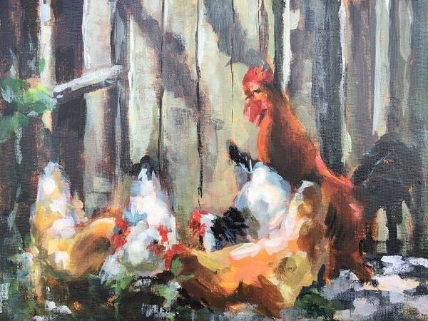 Wall Art - Painting - Chickens In Dappled Light by Susan Elizabeth Jones