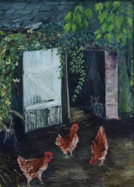 Wall Art - Painting - Chickens by Sylvia Royal