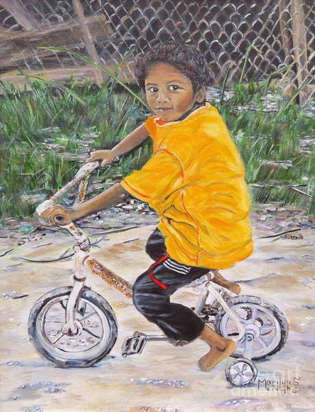 Painting - Chico Y Bicicleta by Marilyn  McNish